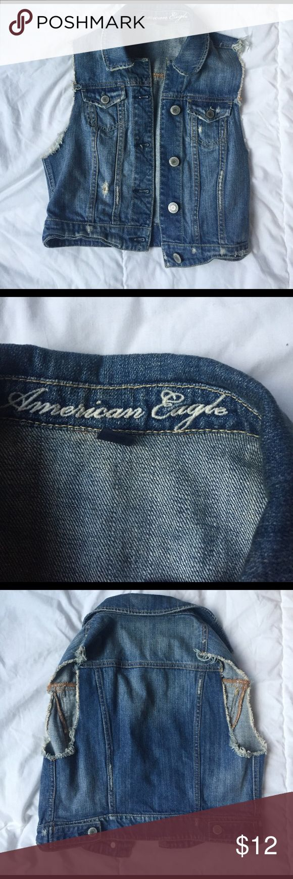 american eagle jean jacket vest size XS cute jean jacket vest size XS from american eagle. American Eagle Outfitters Tops