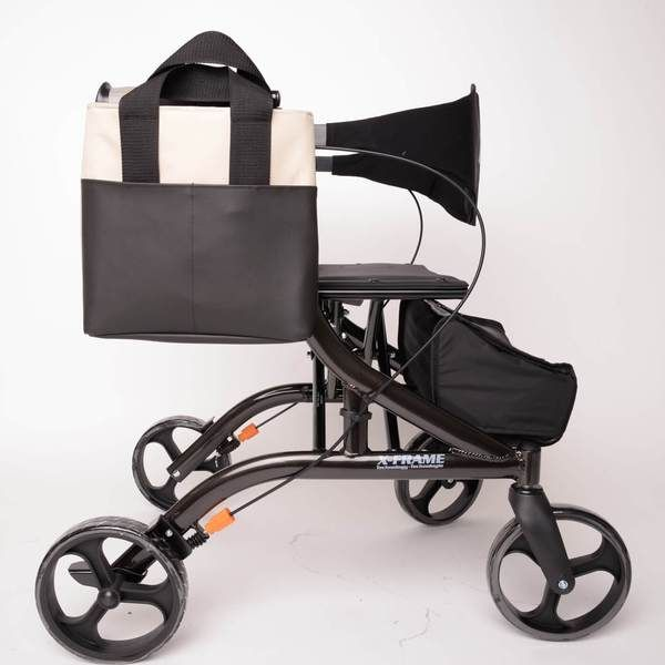 Finally a proper purse for a rollator. No more dangling bags hanging near the wheels!