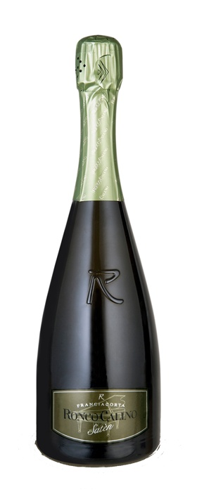 Satèn Franciacorta: This creamy and refined blend of Chardonnay with a tiny perlage and delicate mineral hints is kept on yeasts lees for at least 24 months before disgorging.  It will hold up to fish appetizers, plateau de fruit de mer, sushi and sashimi.  #satèn #franciacorta #bottle