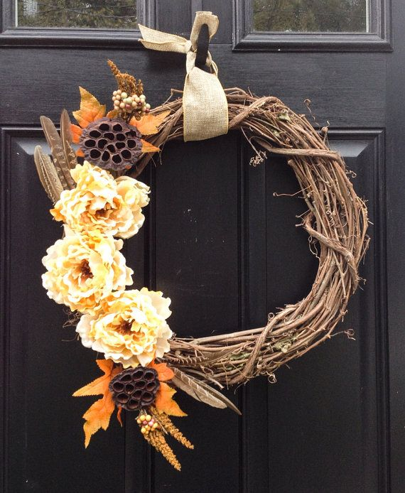 Wreath for Thanksgiving- Thanksgiving Wreath- Autumn Wreath- Fall Wreath- Peony Wreath- Thanksgiving Grapevine Wreath on Etsy, $40.00