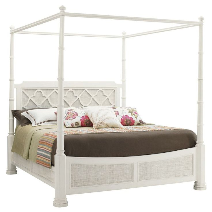 Tommy Bahama 543-175C Ivory Key Southampton Poster California King Bed in Antique White/Somers Isle