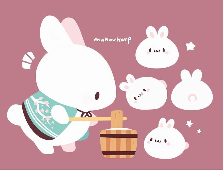 """12.4k Likes, 50 Comments - Norin N. (@mahoukarp) on Instagram: """"Moon bunny making mochi bunnies because its lonely on the moon"""""""