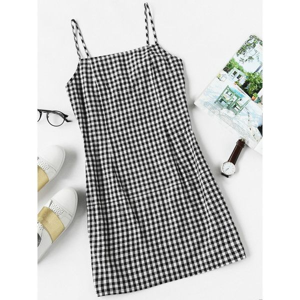Gingham Print Cami Dress (41 BRL) ❤ liked on Polyvore featuring dresses, black and white, camisole slip, cami slip dress, sleeveless dress, black and white gingham dress and short sleeve dress