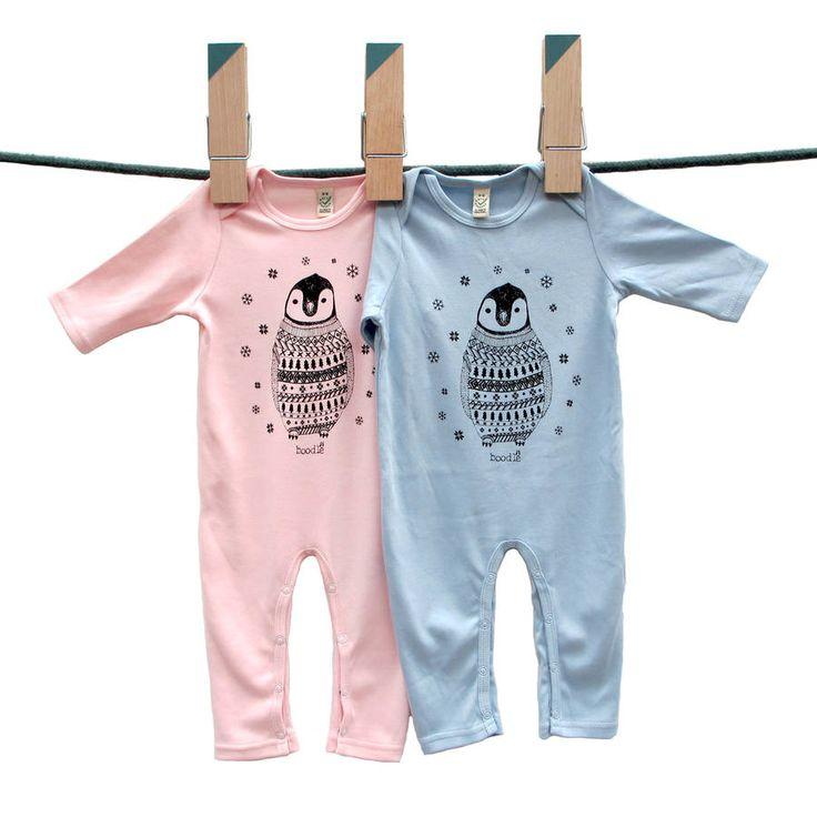 Organic Baby Penguin Long Sleeved Baby Grow