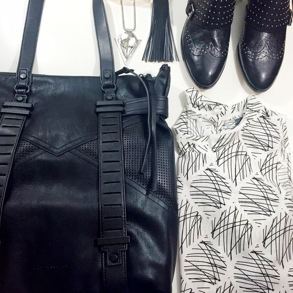 "French Connection Perforated Tote Details: • Faux leather • Black hardware  • Double top handles with 12"" dropped top zip closure • Perforated details • Back exterior magnetic slip pocket • 14"" W X 15.5"" H • NWT   02191603 French Connection Bags Totes"