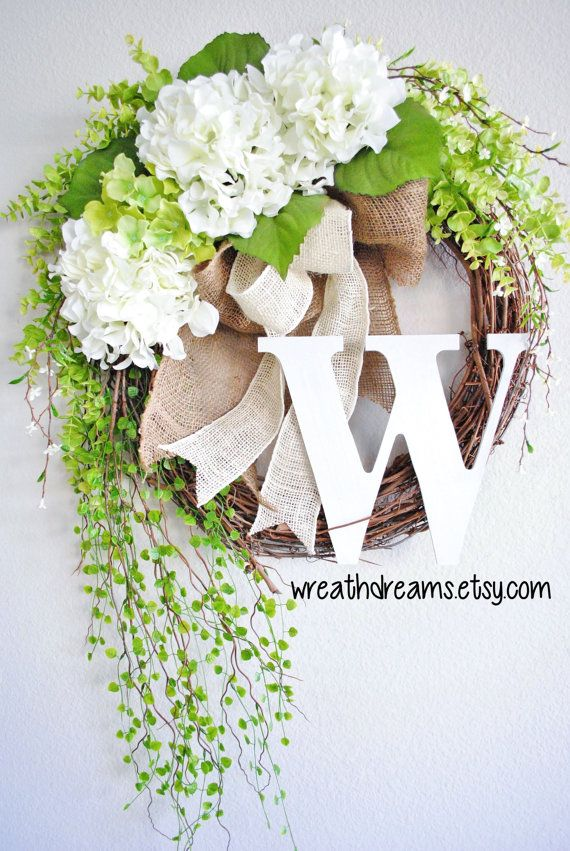 White Hydrangea Grapevine Wreath with Burlap. Year by WreathDreams