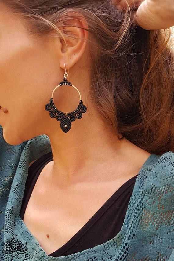 Boucles d'oreilles en macramé, bijoux faits main, boucles d'oreilles créoles, boucles d'oreilles, bijoux Hippie, boucles d'oreilles Gipsy, cadeau pour elle, Bouddha rieur, boucles d'oreilles