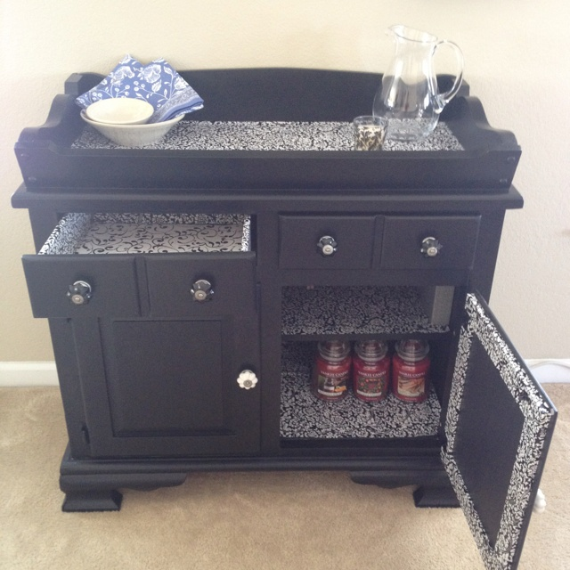 Finished Up Cycle Of An Antique Dry Sink To Bar Used Contact Paper E It Refinishing Ideas Pinterest Furniture And
