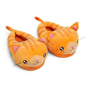 Kawaii Kitty Plush Slippers turn your feet into kittens! These orange tabby cat slippers feature dimensional ears, tail, and whiskers, and an elasticized foot opening. The bottom fabric is coated with no-slip dots.