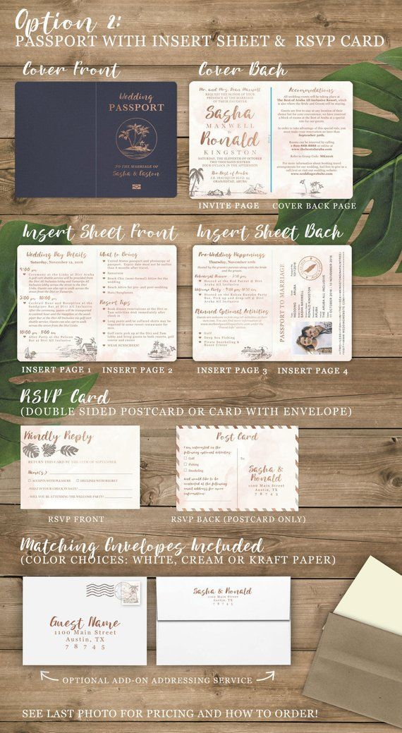 Destination Wedding Passport Invitation Set in Gold and Aqua Watercolor Tropical Design by Luckyladypaper – see item details to order