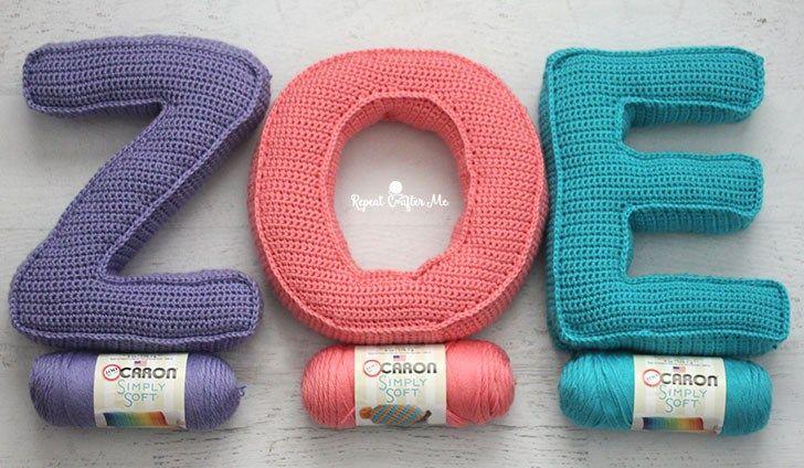 Caron Crochet Alphabet Letter Pillows Repeat Crafter Me