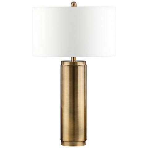 Marshall Antique Bronze Metal Cylinder Table Lamp