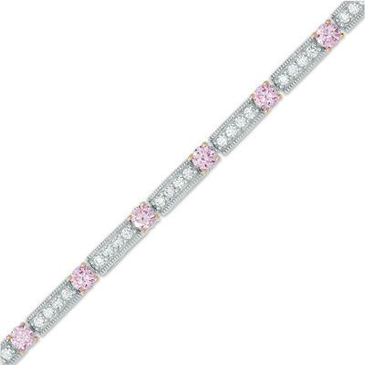 Lab Created Pink Sapphire And White Sapphire Line Bracelet