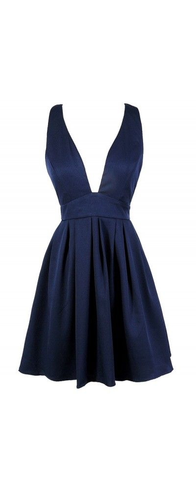 Dip and Twirl Plunging Neckline A-Line Dress in Navy  www.lilyboutique.com