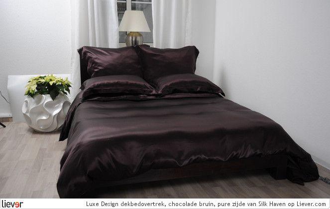 Silk Haven Luxe Design dekbedovertrek, chocolade bruin, pure zijde - Silk Haven beddengoed - foto's
