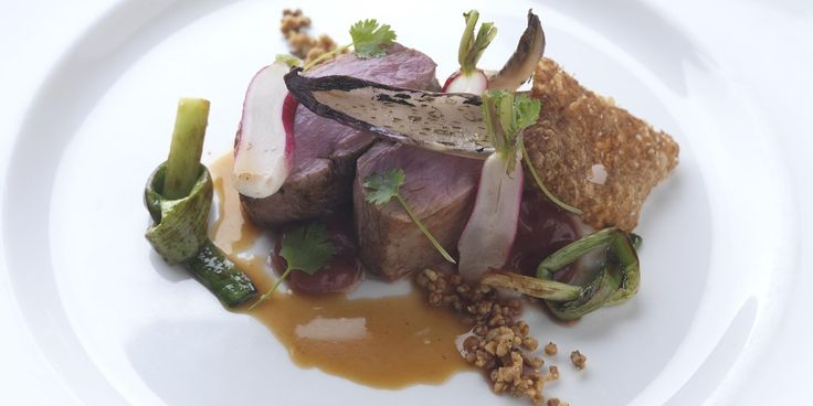 Duck breast with rhubarb purée and walnut granola