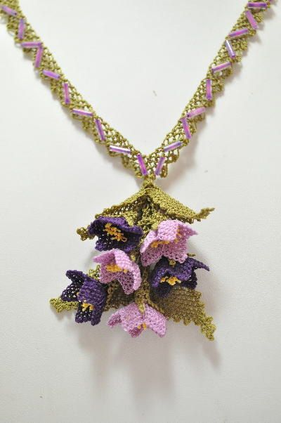 pink  purple dangling floral bouquet by needlecrochet on Etsy