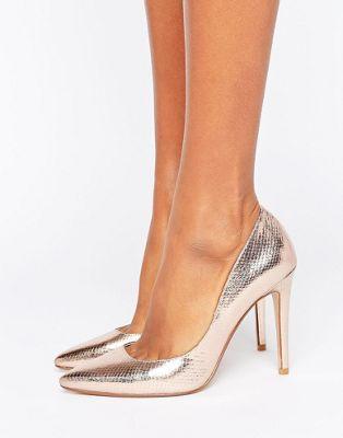 Dune Aiyana Rose Gold Metallic Heeled Court Shoe