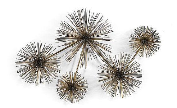 Metal Urchin Wall Decor : Modernistic curtis jere pom urchin metal wall