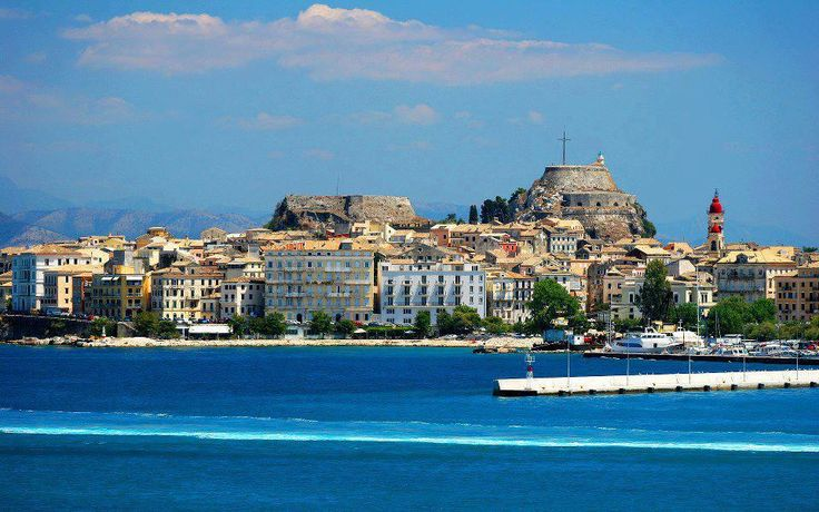 Corfu Town, View from the Port..!!! Old and new Fortresses and the Church of Saint Spiridon