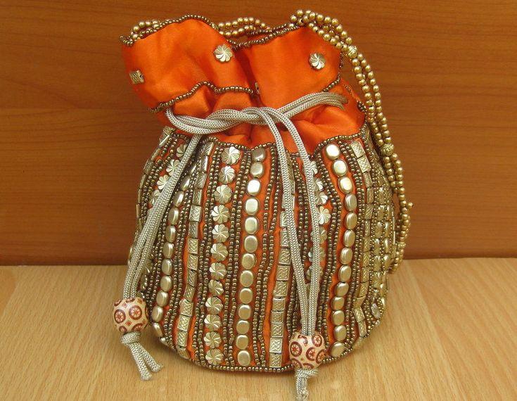 Hand bag/ purse /hand purse/ embroidered bag/orange purse/ party bag/ multicolored bag/ evening bag/ colorful bag/ potli/  gift item. by vibrantscarves on Etsy