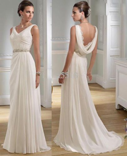"interessant hinten der ""schal"" am ausschnitt... Sexy-V-neck-Greek-Chiffon-Summer-Wedding-Dresses-Nymph-Beaded-Lace-Bridal-Gowns"
