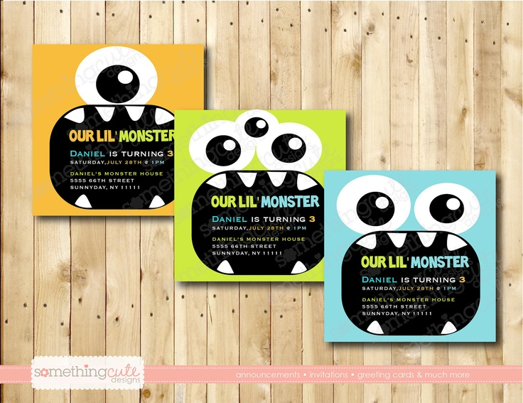 Monster Birthday -our lil monster-birthday invitation. $12.50, via Etsy.