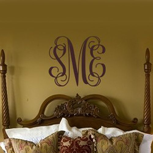 master bedroom----- Imagine the monogram or first letter of last name  painted on a mirror and hung over the bed with the sheer curtains around the bed.... Cool idea