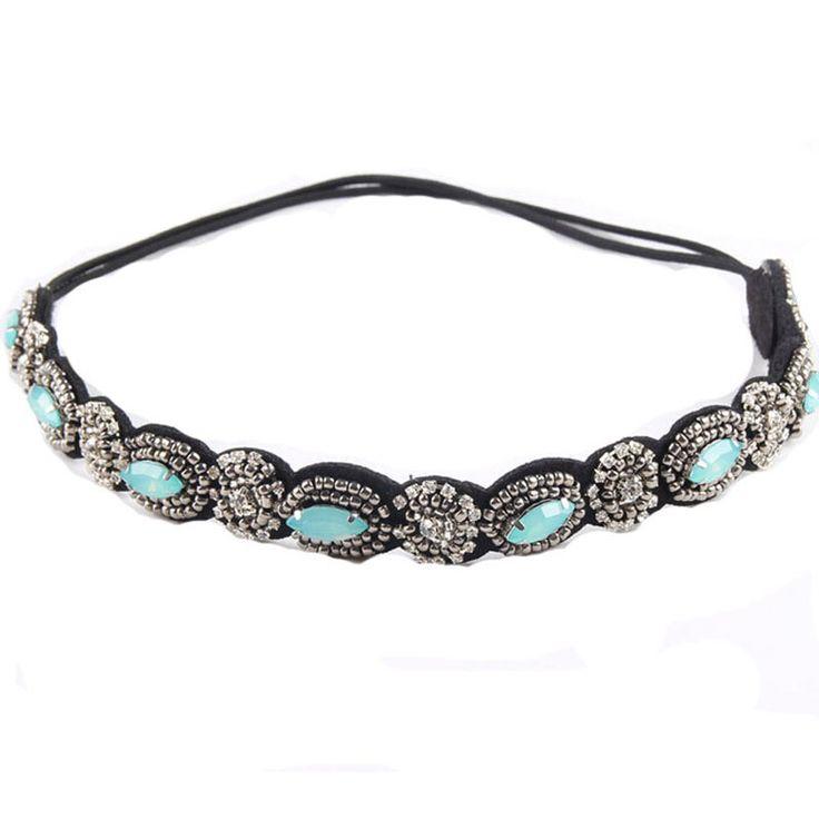 vintage bohemian ethnic turquoise metal beads flower crystal rhinestone handmade elastic headband hair band hair accessories