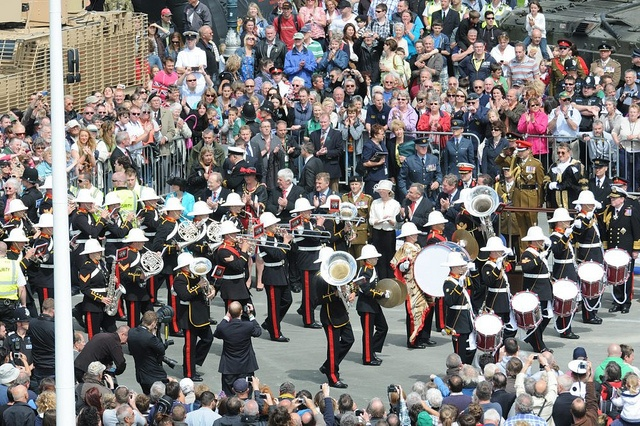 The Royal Marines Band salute HRH Prince Edward at the Armed Forces Day National Event in Plymouth.