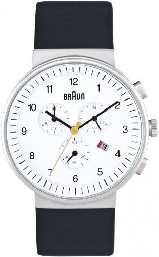 Men's Wrist Watches - Braun Chronograph Watch 40mm White Face Black Leather Band >>> Click image for more details.