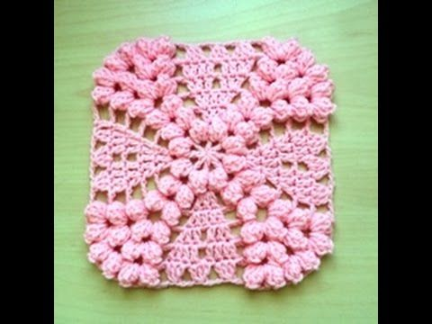 Granny punto popcorn tejido a crochet / granny point popcorn facil crochet - YouTube