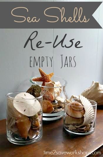 Display sea shells for an impromptu centerpiece for a 4th of July party - this would be a great way to re-use old empty candle jars!
