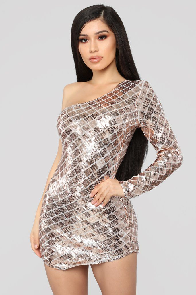 3895842c5a96 Shine Brighter Sequin Dress - Rosegold in 2019 | Fashion Nova ...