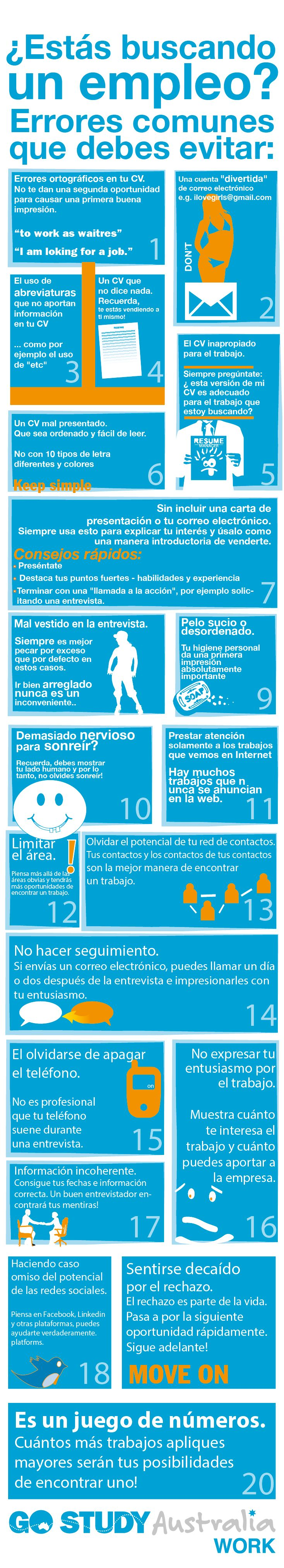 #Infografía - 20 Errores a la hora de buscar #empleo. http://about.me/lolajimenezm