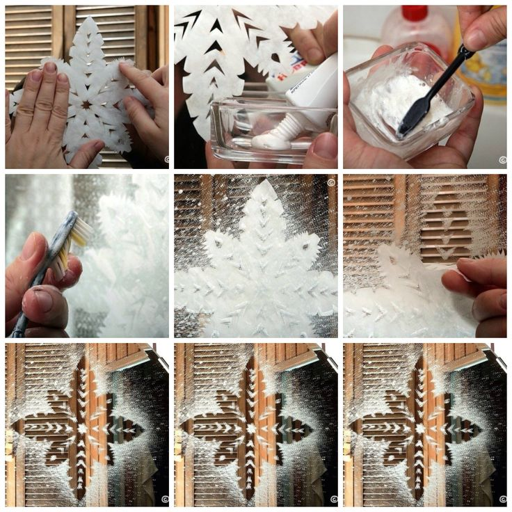Place cut out snowflake on a window. Mix toothpaste and water. Use toothbrush to spray toothpaste mixture around snow flake. Peel snow flake off. Beautiful window art.