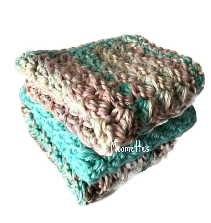 Handmade Kitchen Dishcloths Pink Aqua Blue Shabby Dish Cloths Wash Cloth Crochet Cotton Set of 3