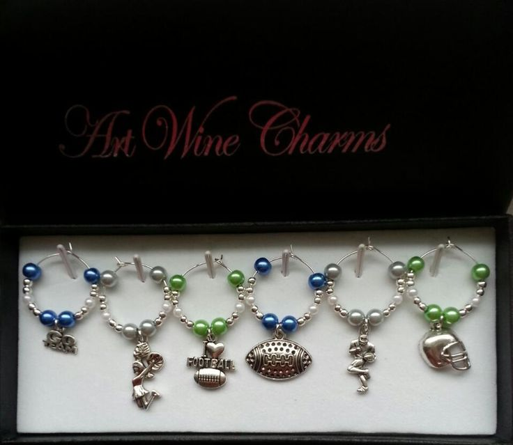6 Seattle Sea Hawks Football themed Wine Charms, Football, NFL, Sea Hawks, Cheerleaders, Football Mom, Themed Party, Party Favors, Seattle by PickinsGalore on Etsy