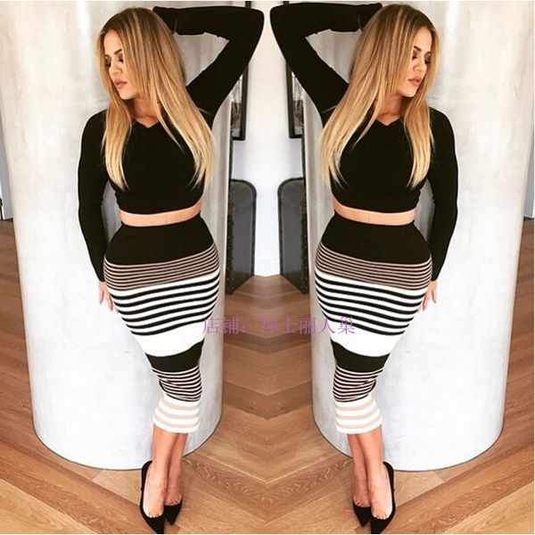 6300f2015 New summer women fashion sexy Two piece suit skirt ebay