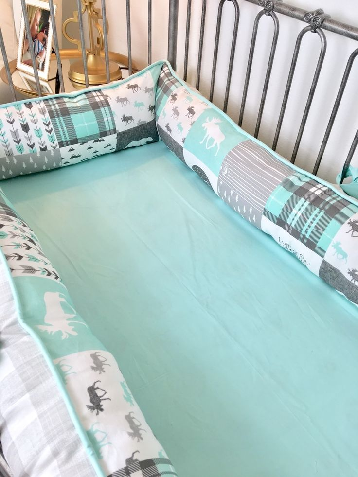 """Ritzy Baby Designs, LLC - """"Fearfully and Wonderfully Made"""" Grey Buffalo Check and Mint Woodland Crib Bumper, $240.00 (http://www.ritzybaby.com/fearfully-and-wonderfully-made-grey-buffalo-check-and-mint-woodland-crib-bumper/)"""