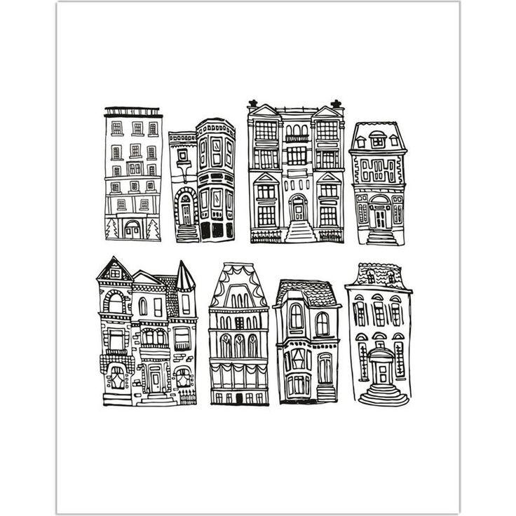 Apartments Illustrated Art Print Hand Drawn City Walkup
