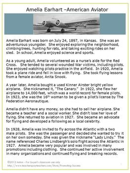 Amelia Earhart: Nonfiction Text Reading Comprehension Passages - - Your students will enjoy reading these (nonfiction text) reading comprehension passages with these interesting Amelia Earhart facts.  https://www.teacherspayteachers.com/Product/Amelia-Earhart-Facts-Womens-History-Month-Social-Studies-Worksheets-465699