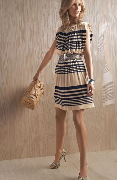 Love the random stripe pattern in this dress, makes it feel nautical and summertime without being so kitschy!