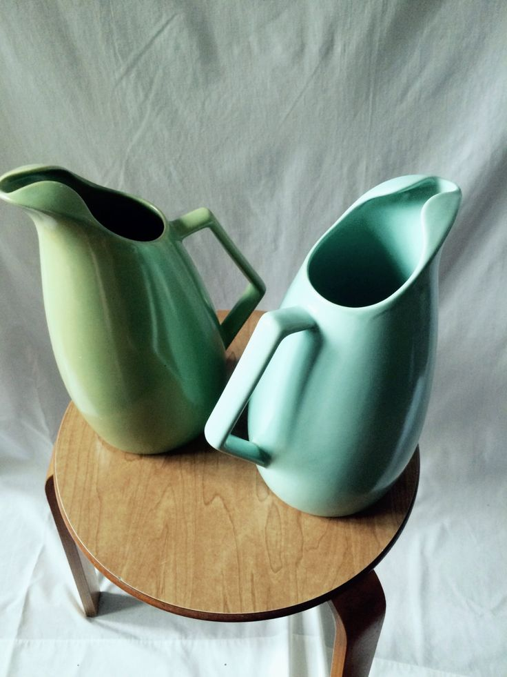 Scandinavian Pitchers // Mid-Mod Colors // Flower Vases by ModernaireMCMStudios on Etsy
