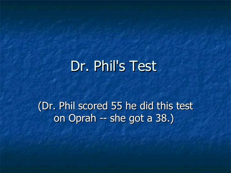 Dr Phil Test 1 by javachai via slideshare. My score (Sue Duffield) was 46. What is yours? Crazy.. It's right on.