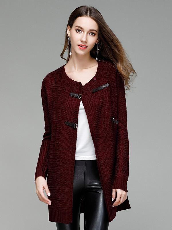 08f9d6534bf993 Vinfemass Wine Red PU Buttons Decor Long Cardigan Coat