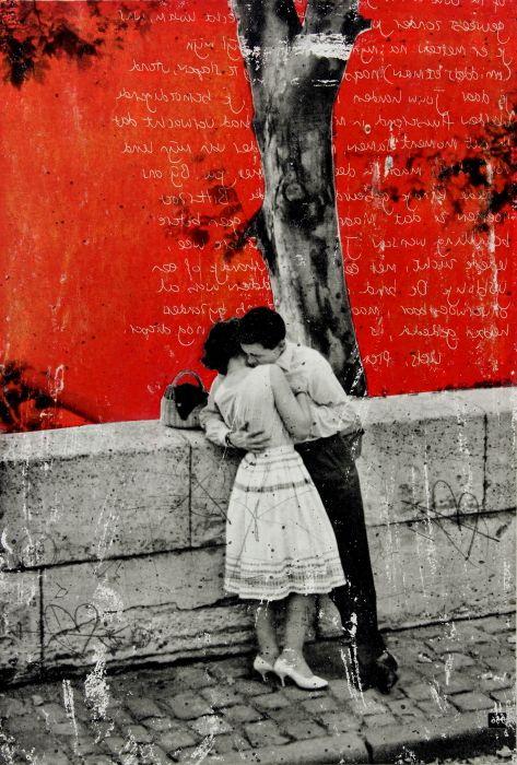 """Kiss"", colagem e pintura de 2015 sobre fotografia de 1957 de Henri Cartier-Bresson, obra de DB Waterman, artista da Holanda. Veja também: http://semioticas1.blogspot.com.br/2015/03/a-imitacao-de-banksy.html"
