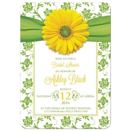 Yellow gerbera daisy green and white floral and ribbon bridal shower invitation. Perfect for a wedding shower in the spring or summer.