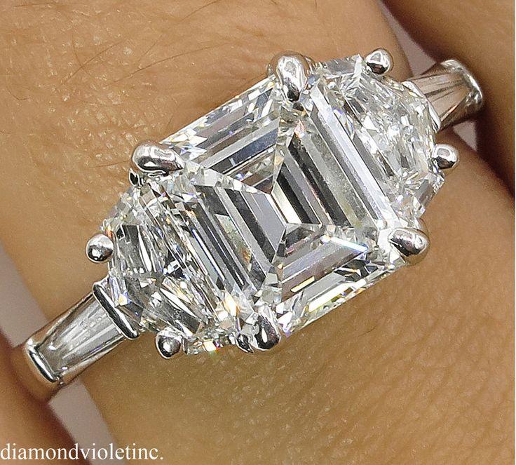 2.86CT ESTATE VINTAGE EMERALD CUT DIAMOND ENGAGEMENT WEDDING RING PLATINUM EGL #ThreeStone