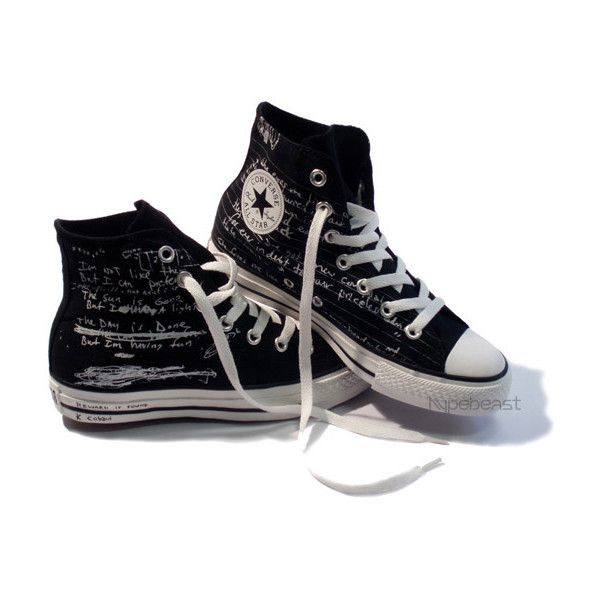 Kurt Cobain Converse Collection ($50) ❤ liked on Polyvore featuring shoes, sneakers, converse, sapatos, converse footwear, converse shoes, converse trainers, rock shoes and converse sneakers